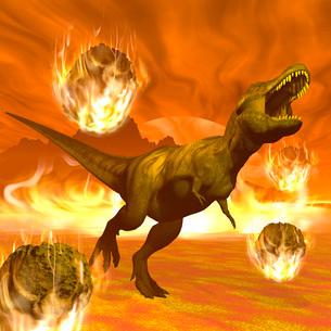 Tyrannosaurus Rex struggles to escape from a meteorite crash.のイラスト素材 [FYI02103010]