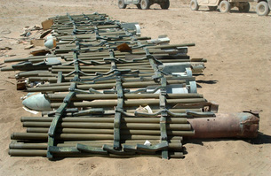 Captured enemy munitions ready to be destroyed.の写真素材 [FYI02103027]
