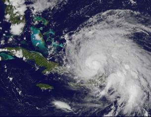 Satellite view of Hurricane Irene approaching the Bahamas.の写真素材 [FYI02103091]