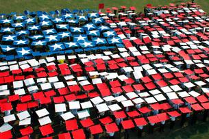 More than 1,200 service members create a human flag.の写真素材 [FYI02103111]