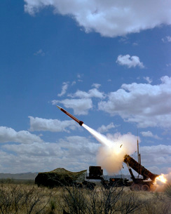 A MIM-104 Patriot anti-aircraft missile is fired during a trの写真素材 [FYI02103363]