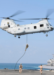 Soldiers fast rope from a CH-46E Sea Knight helicopter ontoの写真素材 [FYI02103401]