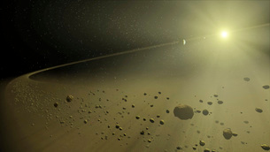 Artist's concept of a distant hypothetical solar system.のイラスト素材 [FYI02103446]