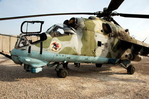 An MI-24 Russian helicopter.の写真素材 [FYI02103507]