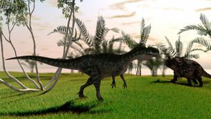 Confrontation between a Monolophosaurus and a brown Einiosaurus.のイラスト素材 [FYI02104123]