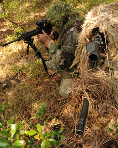 Sharpshooters sneak through the forest in their ghillie suitの写真素材 [FYI02104294]