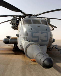 A CH-53E Super Stallion helicopter sitting on the flight linの写真素材 [FYI02104524]