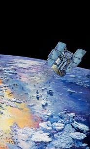 An artist's concept depicting CloudSat in orbit around Earthのイラスト素材 [FYI02104870]