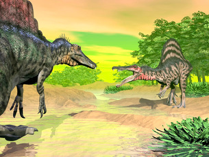 Confrontation between two Spinosaurus dinosaurs.のイラスト素材 [FYI02104965]