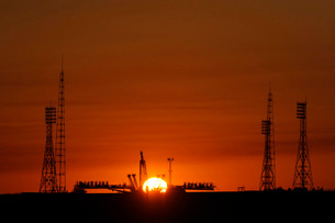 The Soyuz launch pad at the Baikonur Cosmodrome in Kazakhstaの写真素材 [FYI02104983]