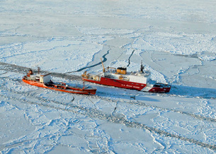 USCG Healy breaks ice around a Russian-flagged tanker southの写真素材 [FYI02105286]
