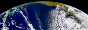 Oblique Bermuda's-eye-view of the United States east coast.の写真素材 [FYI02105291]
