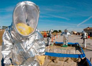 Airman waits to process through decontamination.の写真素材 [FYI02105433]