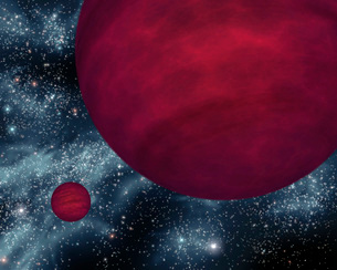 Artist's concept of twin brown dwarfs referred to as 2M 0939のイラスト素材 [FYI02105455]