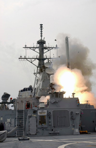 A tomahawk missile launch aboard USS Milius.の写真素材 [FYI02105570]