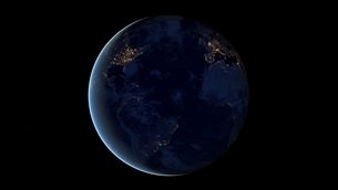 Digital composite of Earth's city lights at night, centeredの写真素材 [FYI02105700]