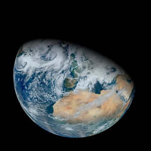 Synthesized view of Earth showing North Africa and southwestern Europe.の写真素材 [FYI02105920]