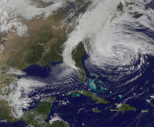 Hurricane Sandy along the East Coast of the United States.の写真素材 [FYI02105922]