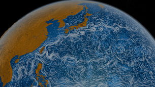 This visualization shows ocean surface currents of the Kuroshio Current.のイラスト素材 [FYI02105936]