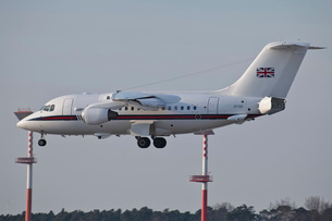 A British Aerospace 146 jet of the Royal Air Force.の写真素材 [FYI02106020]