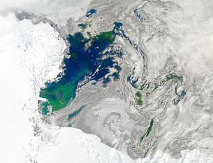 Satellite view of the Ross Sea, Antarctica.の写真素材 [FYI02106068]