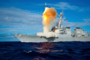 Guided missile destroyer USS Hopper launches a RIM-161 Standard Missile.の写真素材 [FYI02106077]