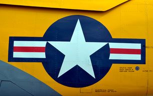 Close-up of the aircraft insignia on an old-fashion warbird.の写真素材 [FYI02106119]
