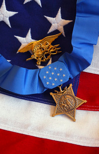 The Medal of Honor rests on a flag beside a SEAL trident.の写真素材 [FYI02106205]