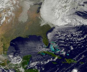 Hurricane Sandy battering the United States East Coast.の写真素材 [FYI02106236]