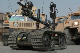 Explosive Ordnance Disposal robot used to safely inspect unsafe situations.の写真素材 [FYI02106304]