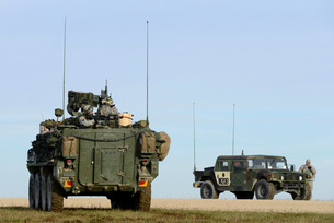 U.S. Army Europe Stryker soldiers aim at targets at the Grafenwoehr Training Area.の写真素材 [FYI02106326]