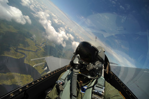 Self-portrait of an aerial combat photographer during takeoff.の写真素材 [FYI02106353]