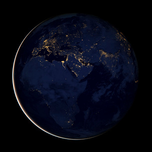 Full Earth showing city lights of Africa, Europe, and the Middle East.の写真素材 [FYI02106367]