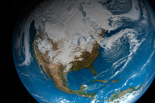 Ful Earth showing simulated clouds over North America.の写真素材 [FYI02106442]