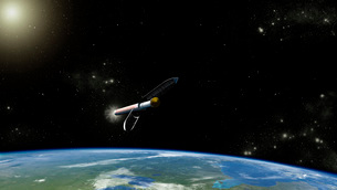 Artist's concept of the Atlas V541 launch vehicle in orbit.のイラスト素材 [FYI02106546]