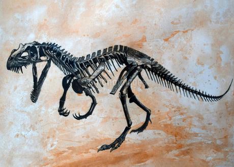 Ceratosaurus dinosaur skeleton.のイラスト素材 [FYI02106547]