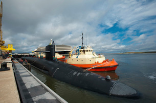 Ballistic missile submarine USS Tennessee at Naval Submarine Base Kings Bay.の写真素材 [FYI02106592]