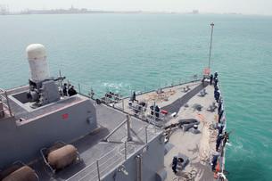 he amphibious dock landing ship USS Pearl Harbor.の写真素材 [FYI02106691]