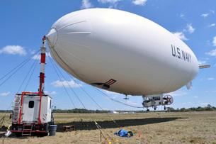 MZ-3A, a U.S. Navy blimp, moored at Fernandina Beach Municipal Airport.の写真素材 [FYI02106735]
