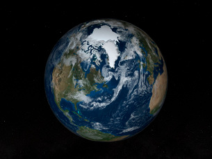 Earth with clouds and sea ice from September 15, 2008.の写真素材 [FYI02106770]