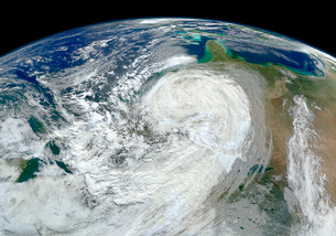 Satellite view of Hurricane Sandy along the East Coast of the United States.の写真素材 [FYI02106789]