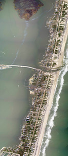 Aerial view showing a portion of Mantoloking, New Jersey, damaged by Hurricane Sandy.の写真素材 [FYI02106807]