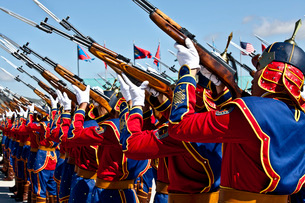 The Mongolian State Honor Guard performs during the opening ceremony for Exercise Khaan Quest.の写真素材 [FYI02106823]