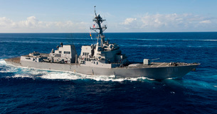Guided-missile destroyer USS Wayne E. Meyer.の写真素材 [FYI02106856]