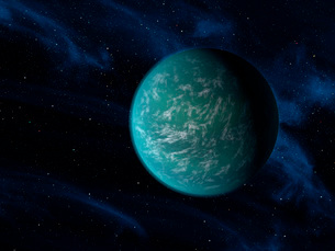 Artist's concept of Kepler 22b, an extrasolar planet found to orbit the habitable zone.のイラスト素材 [FYI02106895]