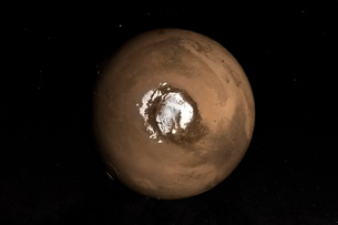 Nadir view of the Martian North Pole.の写真素材 [FYI02106996]