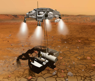 Artist's concept of an ascent vehicle leaving Mars.のイラスト素材 [FYI02107034]