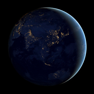 Full Earth at night showing city lights of Asia and Australia.の写真素材 [FYI02107051]