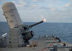 A close-in weapons system is fired aboard USS Tortuga.の写真素材 [FYI02107052]