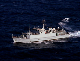 The Royal Navy mine countermeasures ship HMS Ramsey.の写真素材 [FYI02107105]